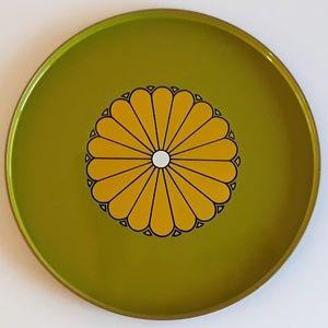 Takahashi yellow floral green/black metal tray